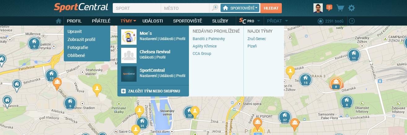 SportCentral novinky 3 uživatelské menu