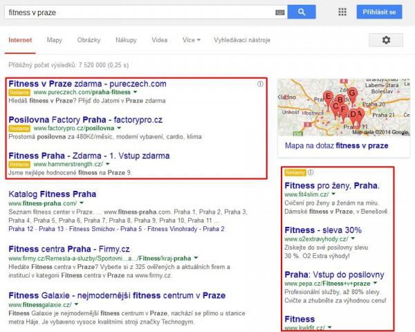 Fitness v Praze - reklama na Google Adwords